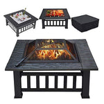 MYF Camping stove 3 in 1 outdoor fire pit with cover backyard heater garden garden metal brazier square stove charcoal smoke-free environmentally friendly barbecue table
