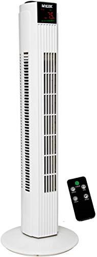 MYLEK MaxBreeze Oscillating Tower Fan with Remote Control and Timer (Black and White, 31 Inch)