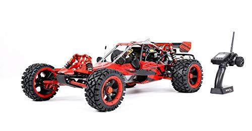 MZL Remote Car 1:5 high with adult fuel remote control car model Rock Crawler/double row silencer exhaust pipe / 45cc single cylinder/four fixed gasoline engine (LxWxH: 817x480x255mm),Red