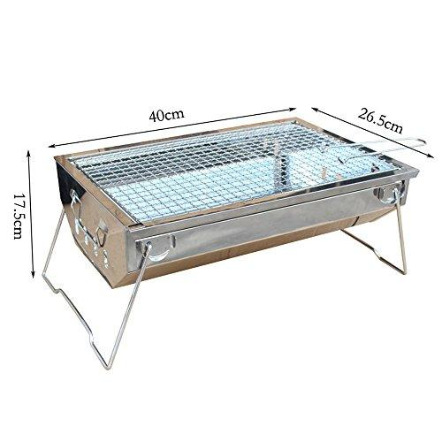Nadalan Outdoor Portable Stainless Steel Charcoal Grill Folding Barbecue Grill (L)