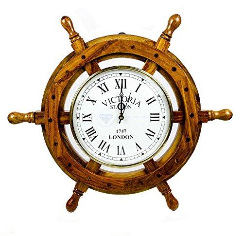 Nagina International Nautical Wooden Ship Wheel With Quartz Clock - Pirate Home Decor Wall Hanging Gifts (12 Inches)
