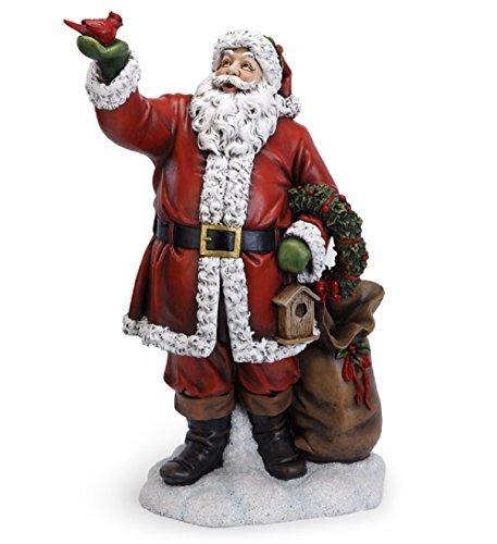 Napco Santa Claus with Red Cardinal Bird 31 Inch Resin Christmas Tabletop Figurine