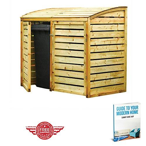 Natural Timber Curved Roof Style Wheelie Wooden Double Bin Store Unit Cupboard Container Outdoor Garden & eBook by Summit Home Shop