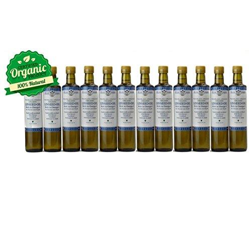 Naturally pure Organic cold-pressed Linseed Oil 500ml (12 Bottles)