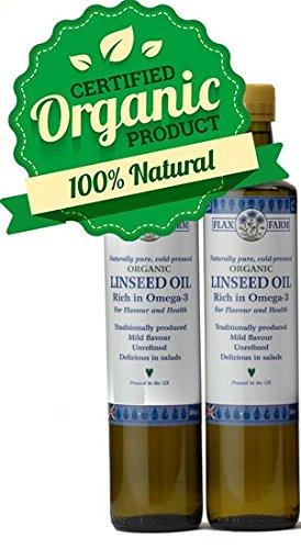 Naturally pure Organic cold-pressed Linseed Oil 500ml (2 Bottles)