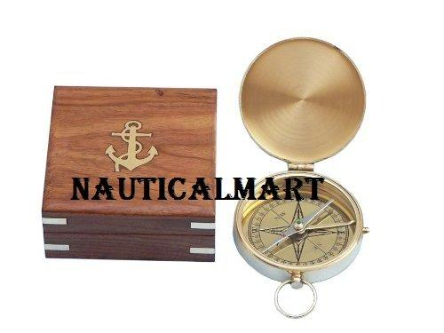 NauticalMart Traditional Outdoor Classic Brass Pocket Watch Style Compass for Camping/Hiking / Traveling