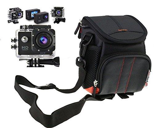 Navitech Black Action Camera Case / Cover - With multiple pockets, including Customisable internal storage compartments for the CS710 Waterproof Action Camera Bike Helmet Camera