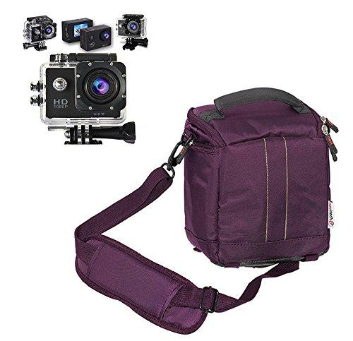 Navitech Purple Action Camera Case / Cover - With multiple pockets, including customisable internal storage compartments for the LYNEC AC65 Sports Action Camera