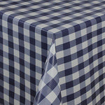 Navy White Wipe Clean Tablecloth Oilcloth Vinyl Pvc Cut to Size Gingham Check Navy 500x140cm