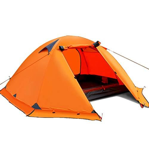 NDY Tent Oxford Cloth Outdoor Double Aluminum Pole Rainproof Camping Camping With Snow Skirt Camping Tent,Orange