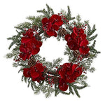 NearlyNatural Orchid, Berry & Pine Holiday Wreath, 22""