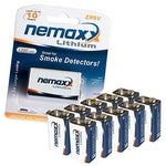 Nemaxx Lithium 9 V block battery for smoke alarm, lasts up to 10 years, 10LI9V