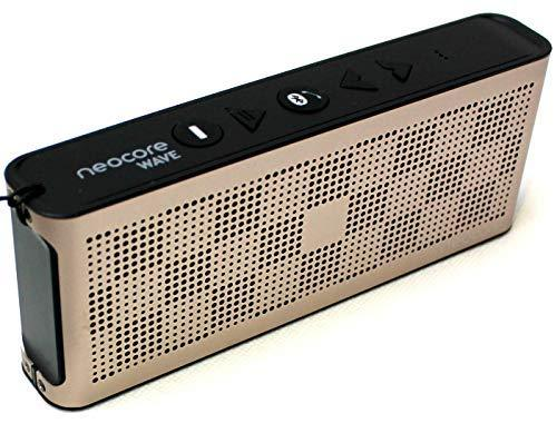 neocore WAVE P3 Portable Wireless Bluetooth Speaker, Subwoofer , 24 Hour Playtime, 256GB SD Card Support, NFC, Waterproof, for iPhone,Samsung,Android Tablet,Smartphone PC,Mac, Champagne Gold