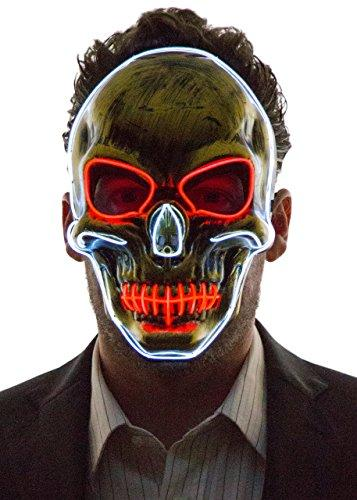 NEON NIGHTLIFE Men's Light Up Scary Death Skull Mask White/Red
