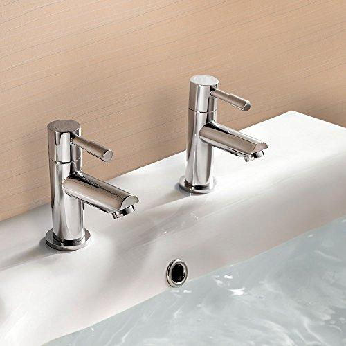 Nes Home | Blossom Hot & Cold Basin Tap Pair Set Chrome Bathroom Sink