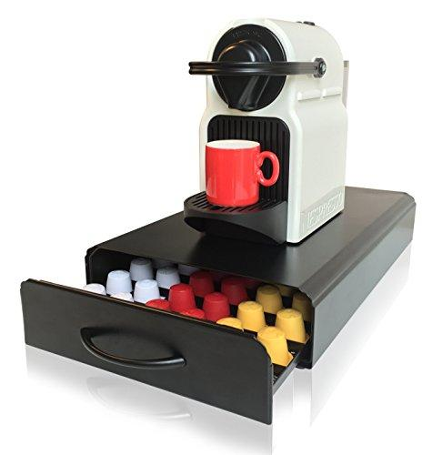 Nespresso Capsules Holder | 60pcs | CAFE CONCETTO | Coffee Pod Storage Drawer| Machine Stand & Organiser | (Metal/Black)
