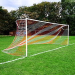 Net World Sports 24ft x 8ft Full Size Striped Football Goal Net (3mm) (PAIR) - Choice of 11 Combinations To Match Your Team's Colours (Blue/Red)