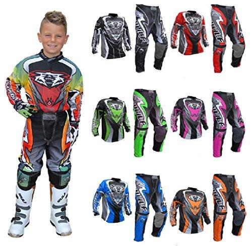 New 2017 Style Motorbike Motorcycle Kids Race Suits WULFSPORT ATTACK Motocross ATV Quad MX Racing Sports Kids Junior Clothing Bike Shirts And Trousers For Children All Colours (GREEN, 5-7 Year)