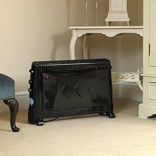 New Black 2000W Electric Convector Heater Portable Convection Thermostat 2Kw Fan