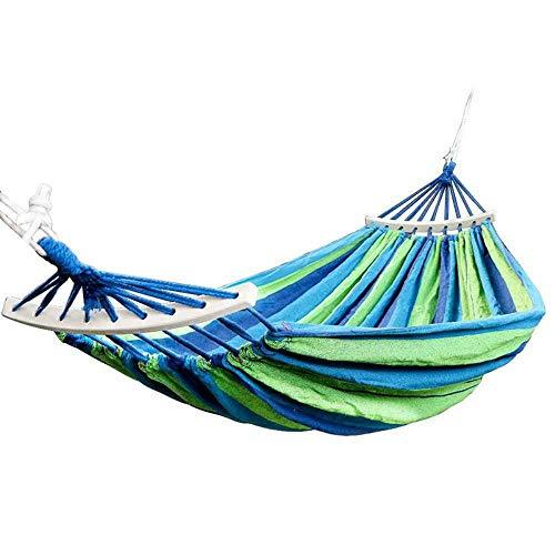 New Double Hammock 450 Lbs Portable Travel Camping Hanging Hammock Swing Lazy Chair Canvas Hammocks(Blue)