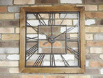 New Extra Large Vintage Antique Wood Decorative Wall Art Skeleton Clock 77cm