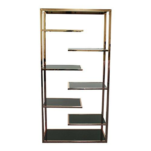"New Pacific Direct Guido 71"" Six Shelves Display Bookcase, Black Tempered Glass, Rose Gold"