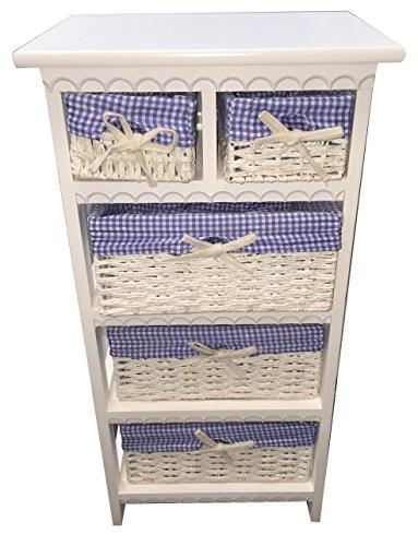 New Storage Unit 5 Drawer Wooden Wicker Baskets White Cabinet Furniture Bathroom (White with Blue Linen)