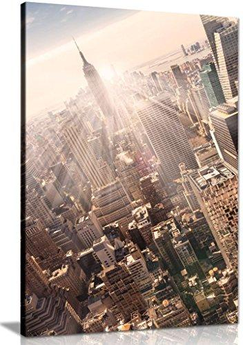 New York City Manhattan Skyline Empire State Building & Skyscrapers Office Canvas Wall Art Picture Print (36X24)