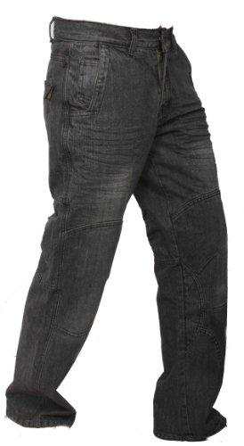 Newfacelook Faded Black Motorcycle Motorbike Armour Jeans Pants Trousers Reinforced With Aramid Protection Lining