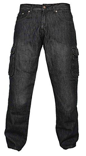 Newfacelook Men's Denim Motorcycle Motorbike Cargo Trousers Jeans with Aramid Protection W32-L30