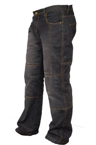 Newfacelook Mens Denim Motorcycle Motorbike Trousers Jeans with Aramid Protection Black W38-L34