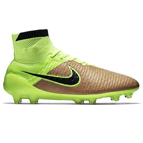 Nike Men's Magista Obra LTHR FG Football Boots, Gold/Yellow (Canvas Volt-Black), 10