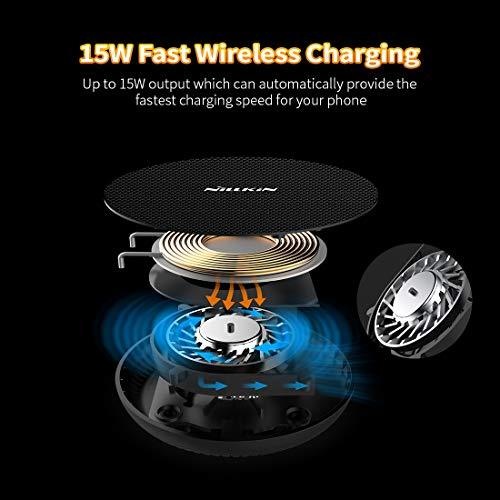 Nillkin 15W Fast Wireless Charger,Wireless Charging Pad With Cooling Fan  Compatible With iPhone XS/XS Max/XR/X/8 Plus,Samsung Galaxy S9 S8  Plus,Huawei
