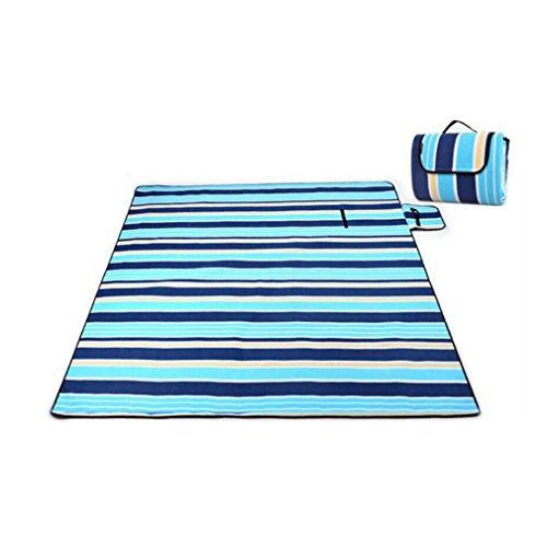 NINI Beach Blanket Moisture-Proof Portable Aluminum Film Velvet Blanket, Beach, Garden, Camping, Tourism 2Mx1.5M(Blue Stripes,Green Vines),Bluestripes