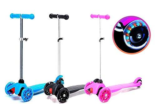NITAAR Ride On Kick Push T Bar Tilt And Turn Mini Scooter Childrens Kids Light Up 3 Wheel Toy Xmas Gift (PINK)
