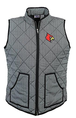 Nitro USA NCAA Louisville Cardinals Women's Quilted Herringbone Print Vest with Embroidered Cardinal Logo, Medium, Black