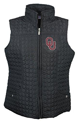 Nitro USA NCAA Oklahoma Sooners Women's Circle Quilted Vest with Rhinestone & Metallic OU Logo, 3X, Black
