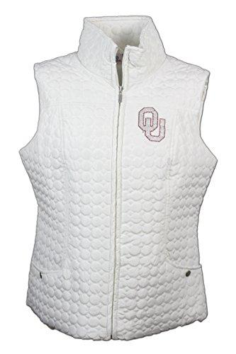 Nitro USA NCAA Oklahoma Sooners Women's Circle Quilted Vest with Rhinestone & Metallic OU Logo, Medium, Cream