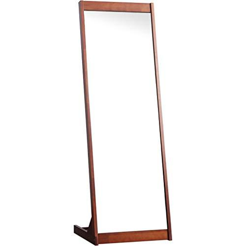 NJYT Floor Mirrors Full Length Mirror,Vintage Wooden Rectangle Free Standing with Storage for Bedroom Hall Floor Mirror (color : BROWN)