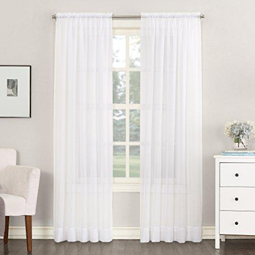 "No. 918 Emily Sheer Voile Curtain Panel, 59"" x 63"", White"