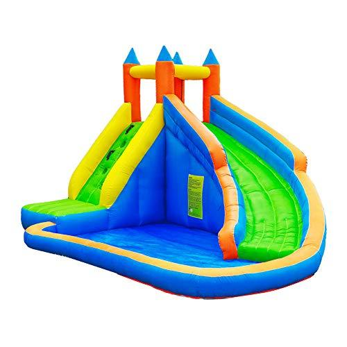 NOBLJX Inflatables Bouncy Castles, Large Kids Jumper House Water Slide with Climbing Wall, Pool Area and 680W Blower, 400 x 250 x 300CM Playground Activity Center