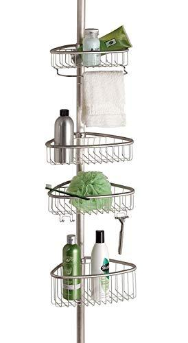 Non Rust Bathroom Telescopic Corner Shelf Storage 4 Tier Shower Caddy Organiser (Matte Silver)