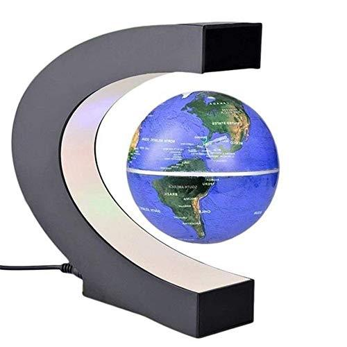 Noodei Floating Globe with LED Lights C Shape Magnetic Levitation Floating Globe World Map Wall Stickers Murals (Color : Blue)