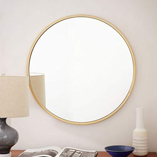 Nordic Champagne Gold Bathroom Mirror Stainless Steel Round Wall Mounted Dressing Table Fittings