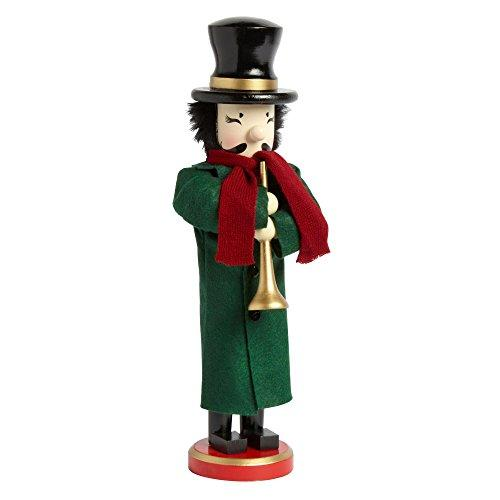 Northeast Home Goods Wooden Christmas Nutcracker Decor, 15-Inch Caroler with Horn