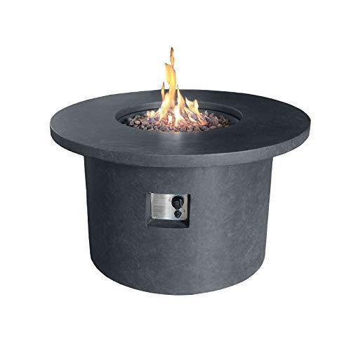 Nova - Mackay Round Outdoor Garden Patio Gas Fire Pit Table - Dark Grey