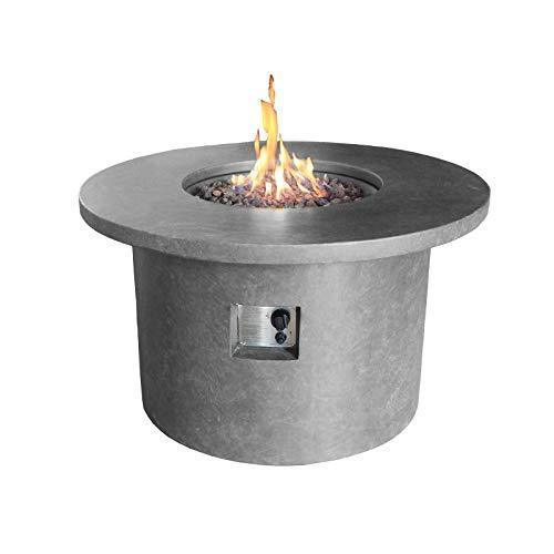 Nova - Mackay Round Outdoor Garden Patio Gas Fire Pit Table - Light Grey