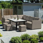 Nova Outdoor Fabric Garden Furniture Corner Sofa Set by Fino Casual Set with Footstools - Taupe