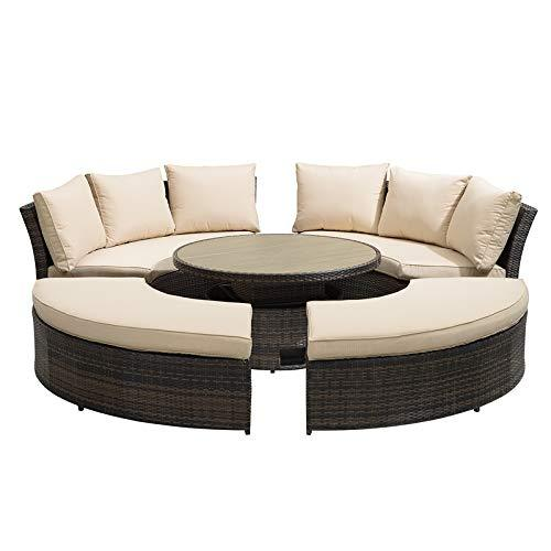 Nova - Windsor Outdoor Rattan Round Set - Garden Sofa Daybed with Rising Garden Coffee Table & Footstools - Brown Flat Weave Patio Furniture