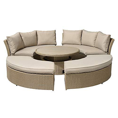 Nova - Windsor Outdoor Rattan Round Set - Garden Sofa Daybed with Rising Garden Coffee Table & Footstools - Willow Wicker Weave Patio Furniture